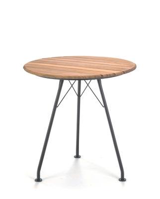 Outdoor - Tables de jardin - Table ronde Circum / Métal & bambou - Ø 74 cm - Houe - Bambou & noir - Acier laqué époxy, Bambou