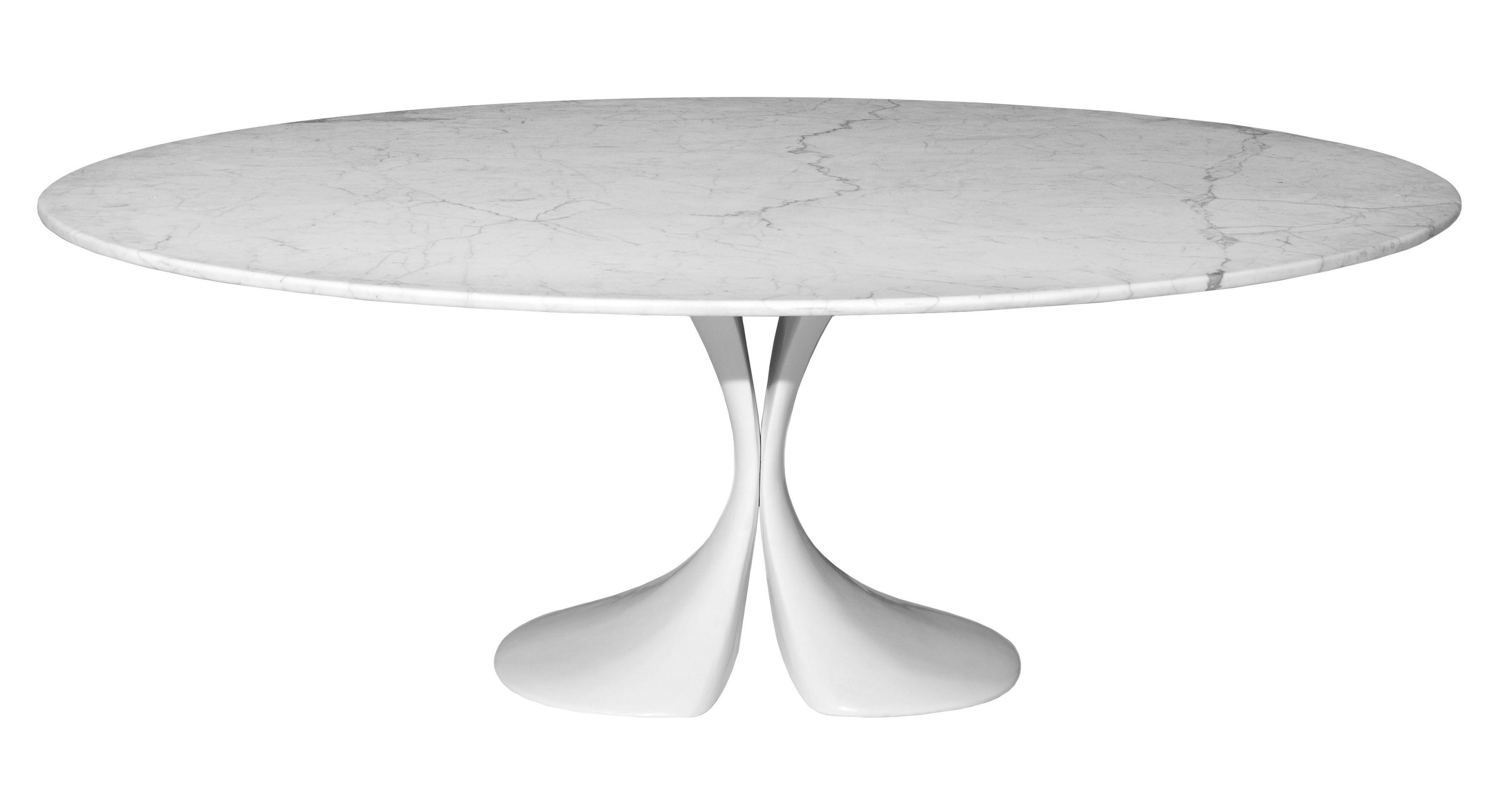 Arredamento - Tavoli - Tavolo ovale Didymos - 200 x 140 cm - Piano in marmo di Driade - Piano in marmo bianco - Cristalplant, Marmo