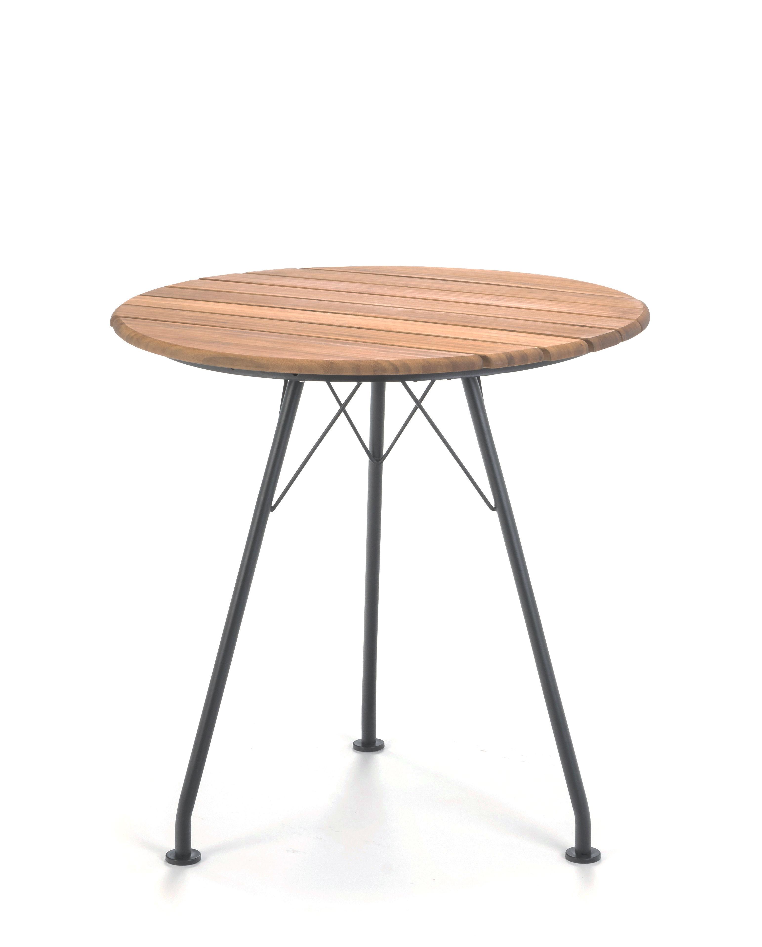 Outdoor - Tavoli  - Tavolo rotondo Circum - / Metallo & bambù - Ø 74 cm di Houe - Bambù & Nero - Acciaio laccato epossidico, Bambù