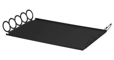 Tableware - Trays - Giocorotondo Tray - 46,5 x 26 cm by Serafino Zani - Black steel - Stainless steel