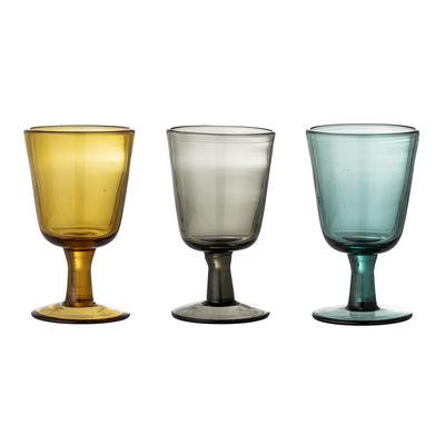 Arts de la table - Verres  - Verre à vin Kanda / Set de 3 - Bloomingville - Jaune, gris, bleu - Verre