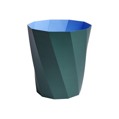 Decoration - Bins - Paper Paper Wastepaper basket - / Recycled paper - Ø 28 x H 30.5 cm by Hay - Dark green / Blue - FSC recycled paper