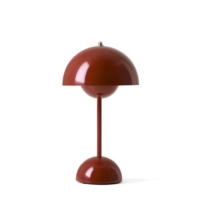Lighting - Table Lamps - Flowerpot VP9 Wireless lamp - / H 29.5 cm - By Verner Panton, 1968 by &tradition - Burgundy - Polycarbonate