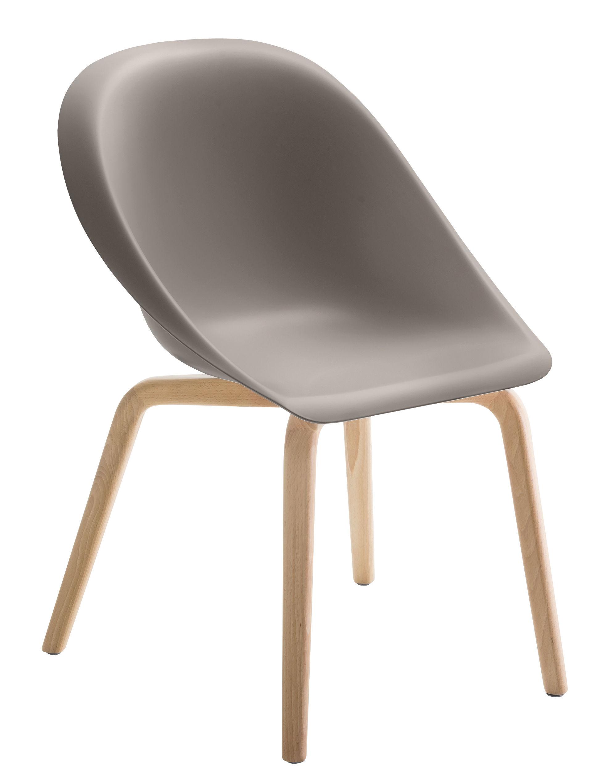 Furniture - Chairs - Hoop Armchair - Wood legs by B-LINE - Dove grey / Wood - Natural beechwood, Polyurethane