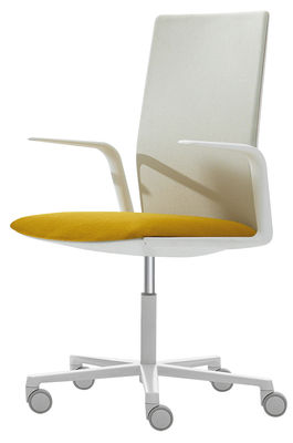 Furniture - Office Chairs - Kinesit Armchair on casters - Padded / High backrest by Arper - White / Yellow cushion - Fabric, Foam, Lacquered aluminium, Polypropylene