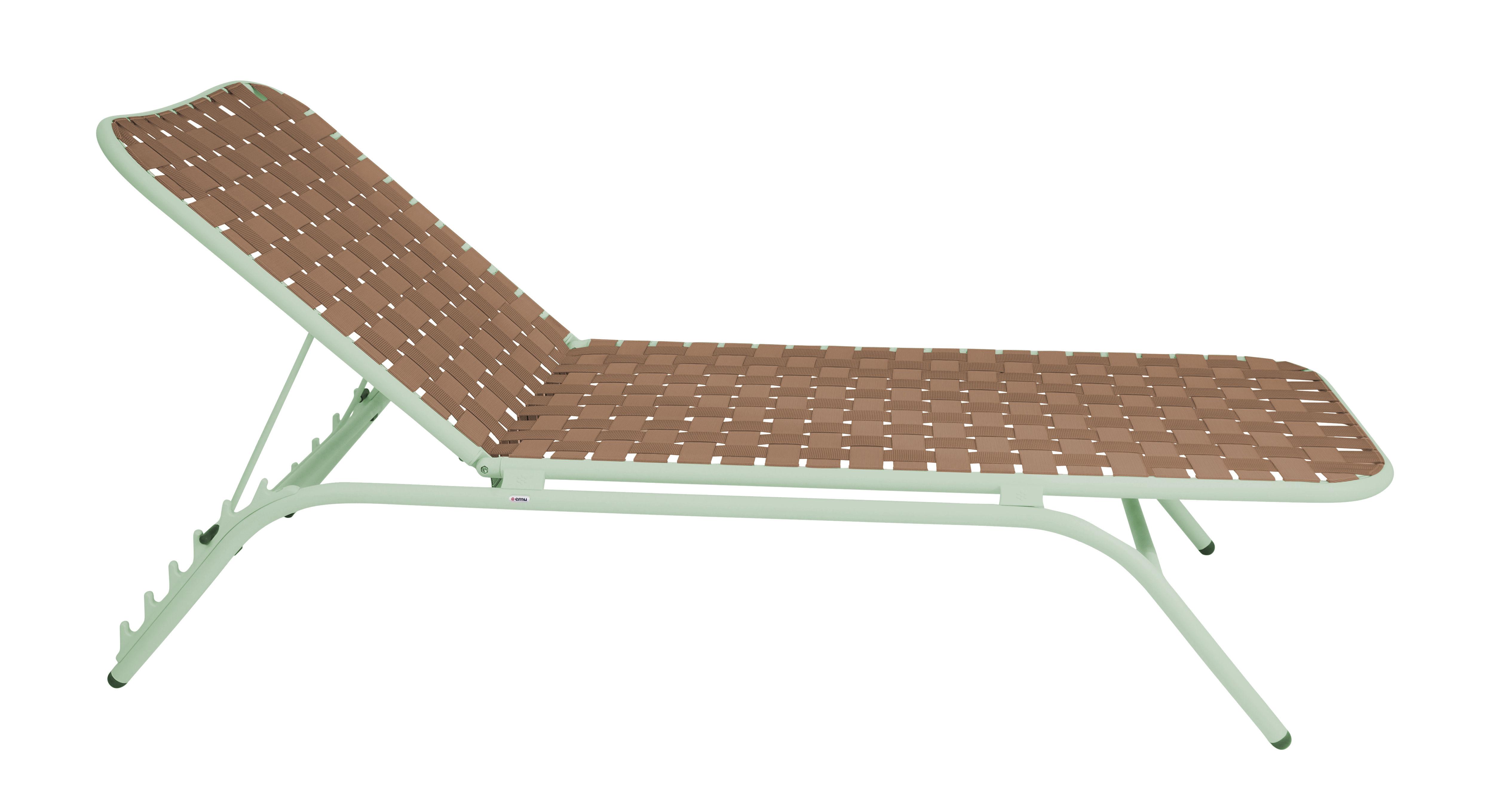 Jardin - Chaises longues et hamacs - Bain de soleil Yard / Sangles élastiques - Emu - Structure verte / Assise beige - Aluminium verni, Sangles élastiques