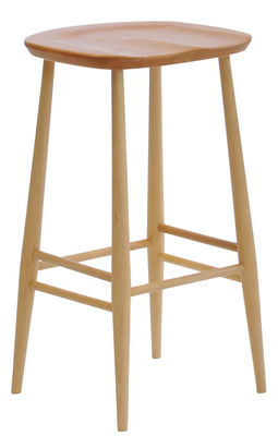 Furniture - Bar Stools - Bar Stool Bar stool - Wood H 65 cm - Reissue 1950' by Ercol - Natural wood - Ashwood, Hêtre tourné
