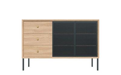 Buffet Gabin / Haut - 3 tiroirs - L 120 cm - Hartô gris/bois naturel en métal/bois