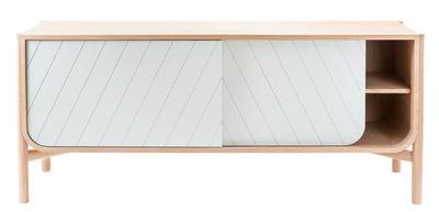 Mobilier - Commodes, buffets & armoires - Buffet Marius / Meuble TV - L 155 x H 65 cm - Hartô - Gris clair & chêne naturel - Chêne massif, MDF plaqué chêne