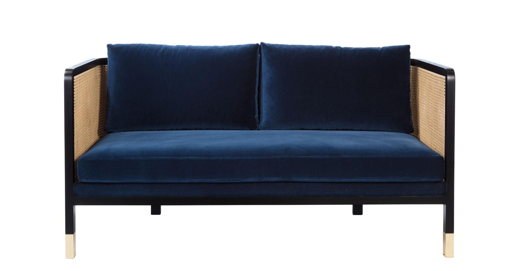 Mobilier - Canapés - Canapé droit Cannage / L 160 cm - Velours - RED Edition - Bleu Marine / Noir & naturel -  Plumes, Acier, Hêtre teinté, Mousse haute résilience, Rotin, Velours