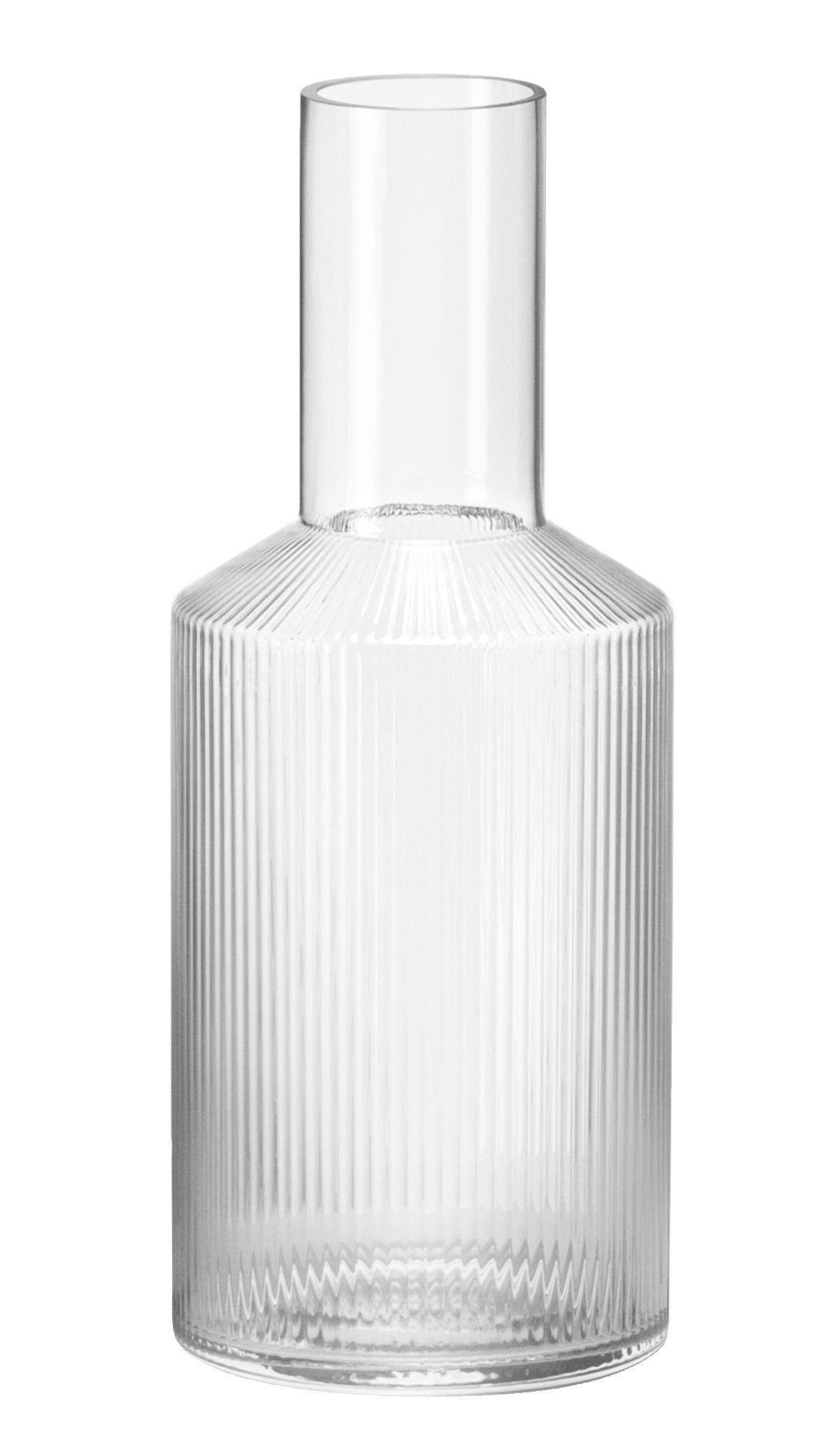 Arts de la table - Carafes et décanteurs - Carafe Ripple / 1 L - Verre soufflé bouche - Ferm Living - Transparent / Stries - Verre soufflé bouche