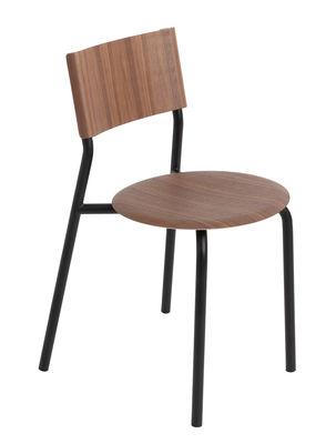 Mobilier - Chaises, fauteuils de salle à manger - Chaise empilable SSD / Noyer - TIPTOE - Noir Graphite / Noyer - Acier thermolaqué, Noyer