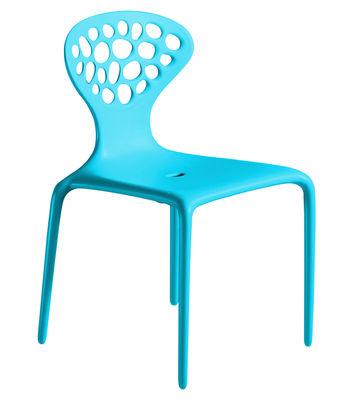 Mobilier - Chaises, fauteuils de salle à manger - Chaise empilable Supernatural / Plastique - Moroso - Turquoise - Fibre de verre, Polypropylène