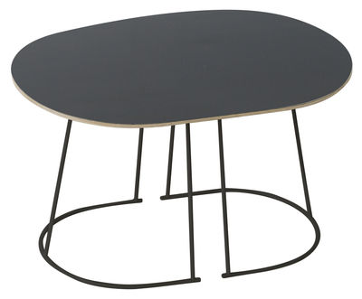 Furniture - Bedside & End tables - Airy Coffee table - / Small - 68 x 44 cm by Muuto - Black - Painted steel, Plywood, Stratified