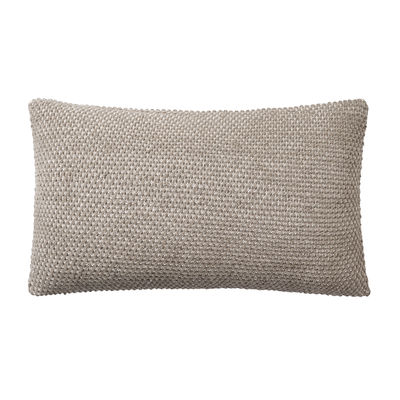 Decoration - Cushions & Poufs - Twine Cushion - / Hand-knitted baby llama wool - 80 x 60 cm by Muuto - Beige-grey -  Plumes, Baby llama wool, Cotton
