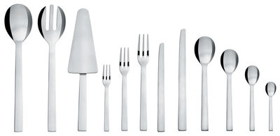 Tableware - Cutlery - Santiago Kitchen cupboard - 24 pieces of cutlery by Alessi - Polished steel - Polished stainless steel