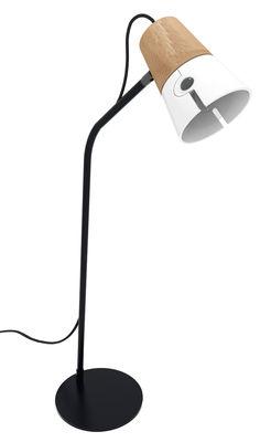 Illuminazione - Lampade da tavolo - Lampada da tavolo Cone / Legno e metallo - H 65 cm - Universo Positivo - Bianco / Rovere naturale / Nero - metallo laccato, Rovere massello, Tessuto