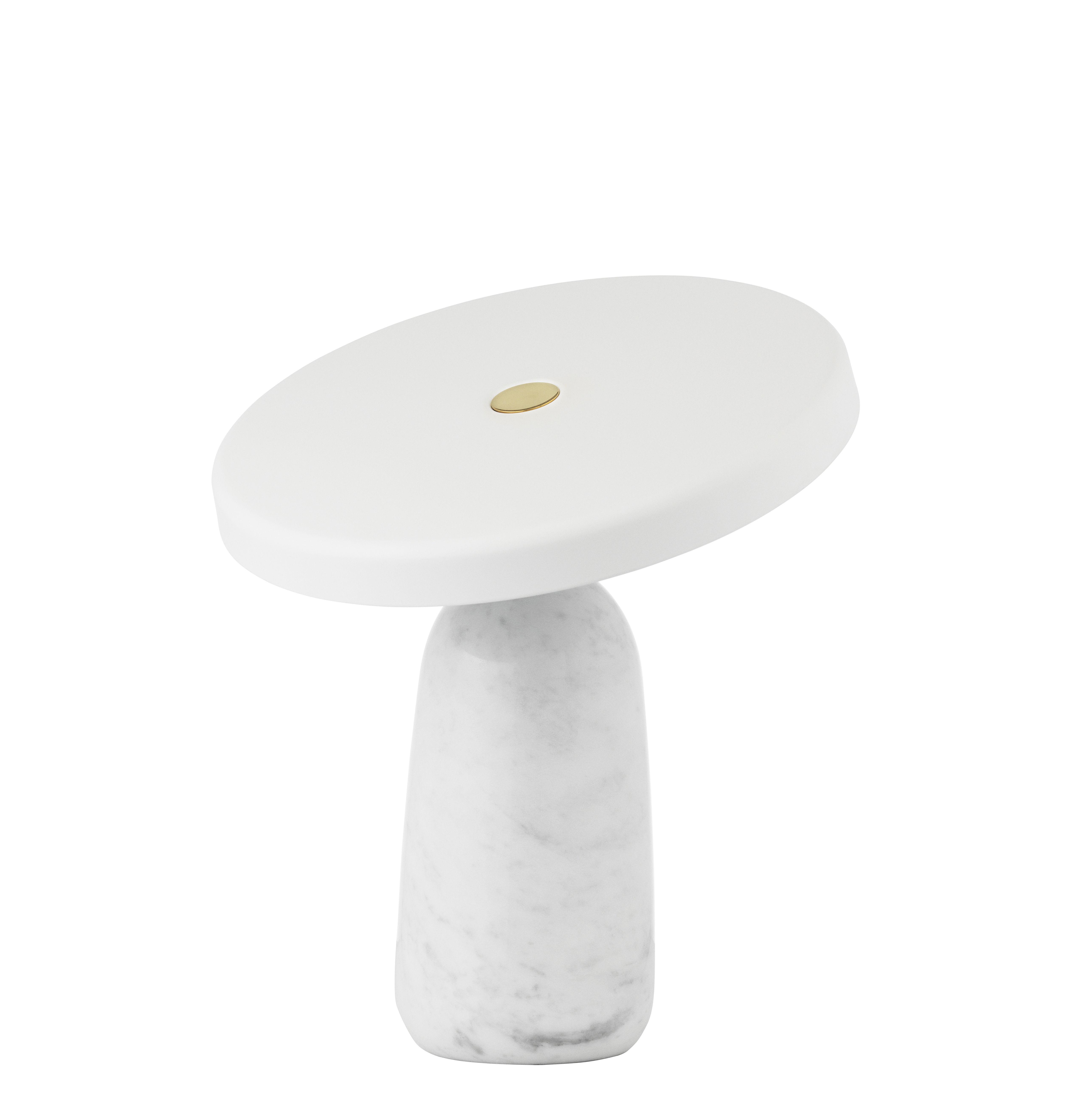 Luminaire - Lampes de table - Lampe de table Eddy / Avec pivot - Marbre & acier embouti - Normann Copenhagen - Blanc - Acier embouti, Laiton, Marbre italien