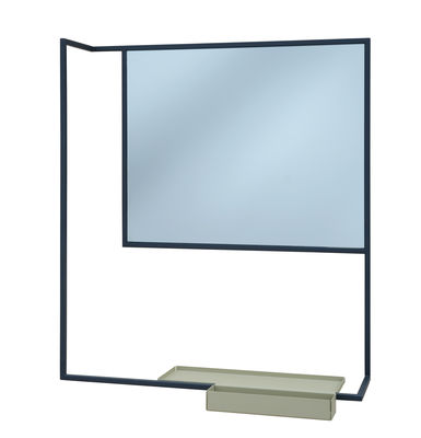 Miroir mural romi porte serviettes tablette 78 x 60 cm gris ardoise etag re vert lichen for Miroir teinte design