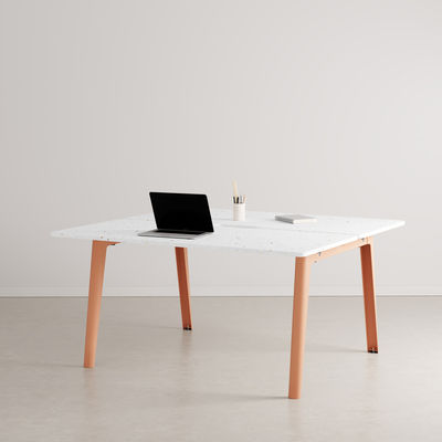 Furniture - Office Furniture - New Modern open space desk - / 2-seat XL - 150 x 140 cm / Recycled plastic by TIPTOE - Ash Pink - Powder coated steel, Recycled plastic