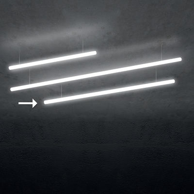 Lighting - Pendant Lighting - Alphabet of light Linear Pendant - / Bluetooth - L 180 cm by Artemide - L 180 cm / White - Aluminium, Methacrylate