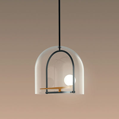 Lighting - Pendant Lighting - Yanzi S Pendant - / LED - Ø 40 x H 42 cm by Artemide - Black & brass / White sphere - Blown glass, Brass, Lacquered steel
