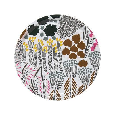 Arts de la table - Plateaux - Plateau Letto / Bois - Ø 31 cm - Marimekko - Letto / Blanc, vert & marronwhite, green, brown - Laminé de bouleau
