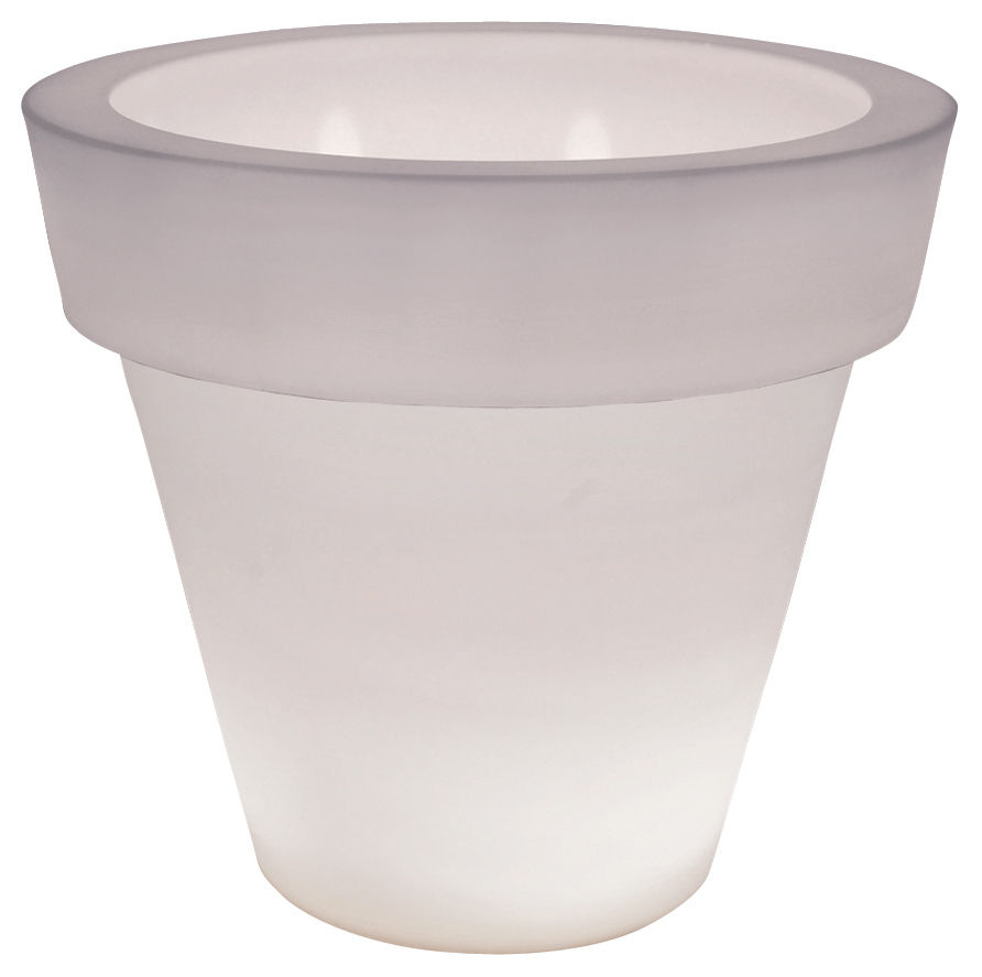 Mobilier - Mobilier lumineux - Pot de fleurs lumineux Vas-Three Light - Serralunga - Blanc semi-transparent - Polyéthylène