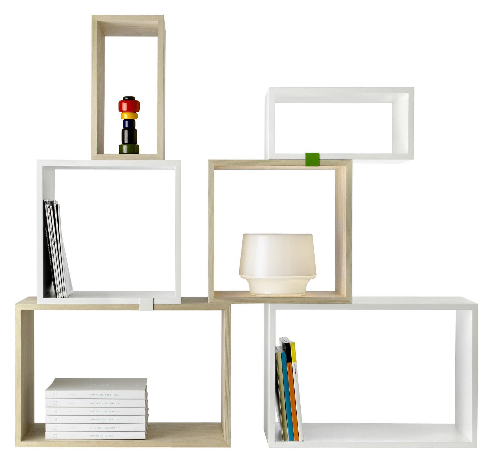 Möbel - Regale und Bücherregale - Stacked Regal großes rechteckiges Modul - Muuto - 65,4 x 43,6 cm - weiß - mitteldichte bemalte Holzfaserplatte