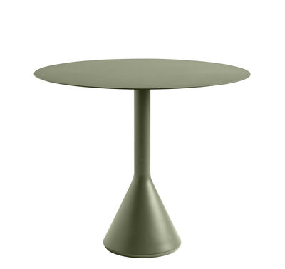 Outdoor - Garden Tables - Palissade Cone Round table - / Ø 90 cm - Steel by Hay - Olive green - Epoxy lacquered steel, Tinted concrete