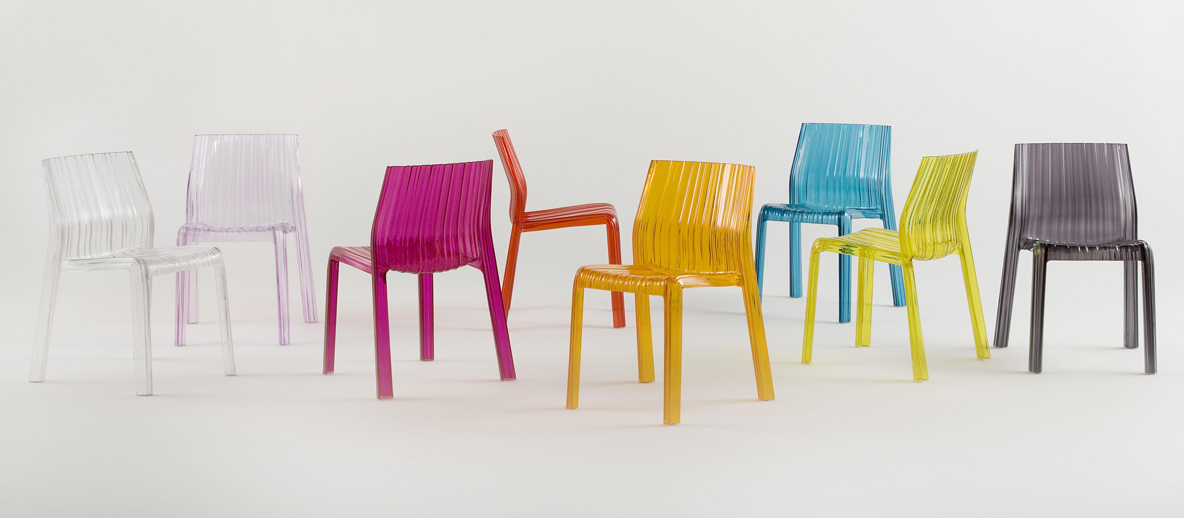 Scopri sedia frilly versione trasparente arancione trasparente di kartell made in design italia - Sedia trasparente kartell ...