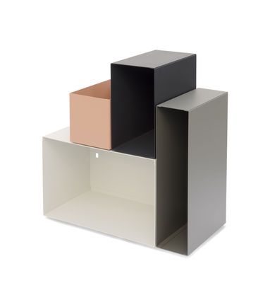 Furniture - Coffee Tables - Kase Shelf - / Shelf - 4 modular magnetic boxes by Presse citron - Light grey - Lacquered steel