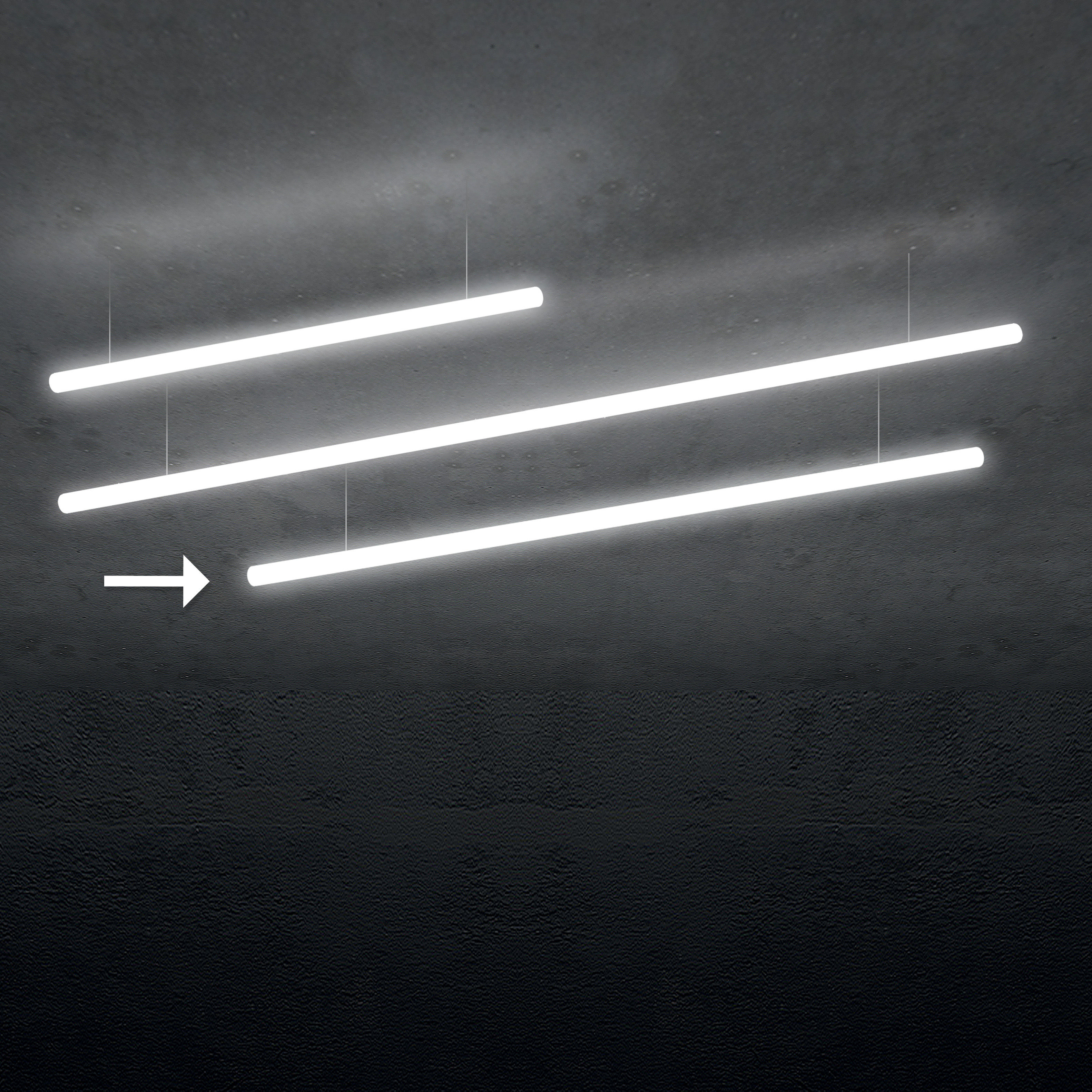 Illuminazione - Lampadari - Sospensione Alphabet of light Linear - / Bluetooth - L 180 cm di Artemide - L 180 cm / Bianco - Alluminio, Metacrilato