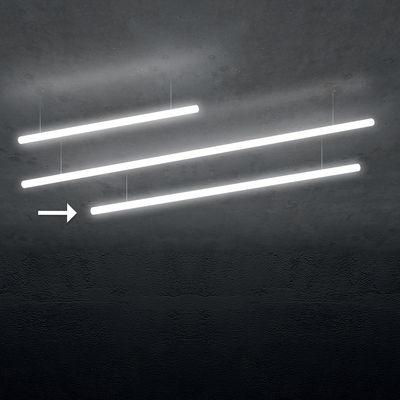 Luminaire - Suspensions - Suspension Alphabet of light Linear / LED -  L 180 cm / Bluetooth - Artemide - L 180 cm / Blanc - Aluminium, Méthacrylate