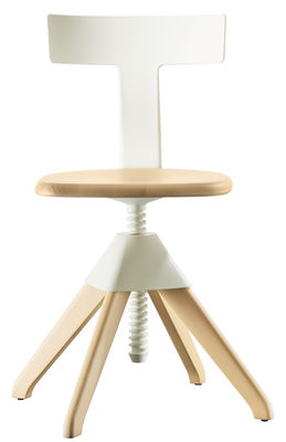 Furniture - Chairs - Tuffy Swivel chair - Wood & plastic / Adjustable height by Magis - White / Natural wood structure - Natural beechwood, Polypropylene