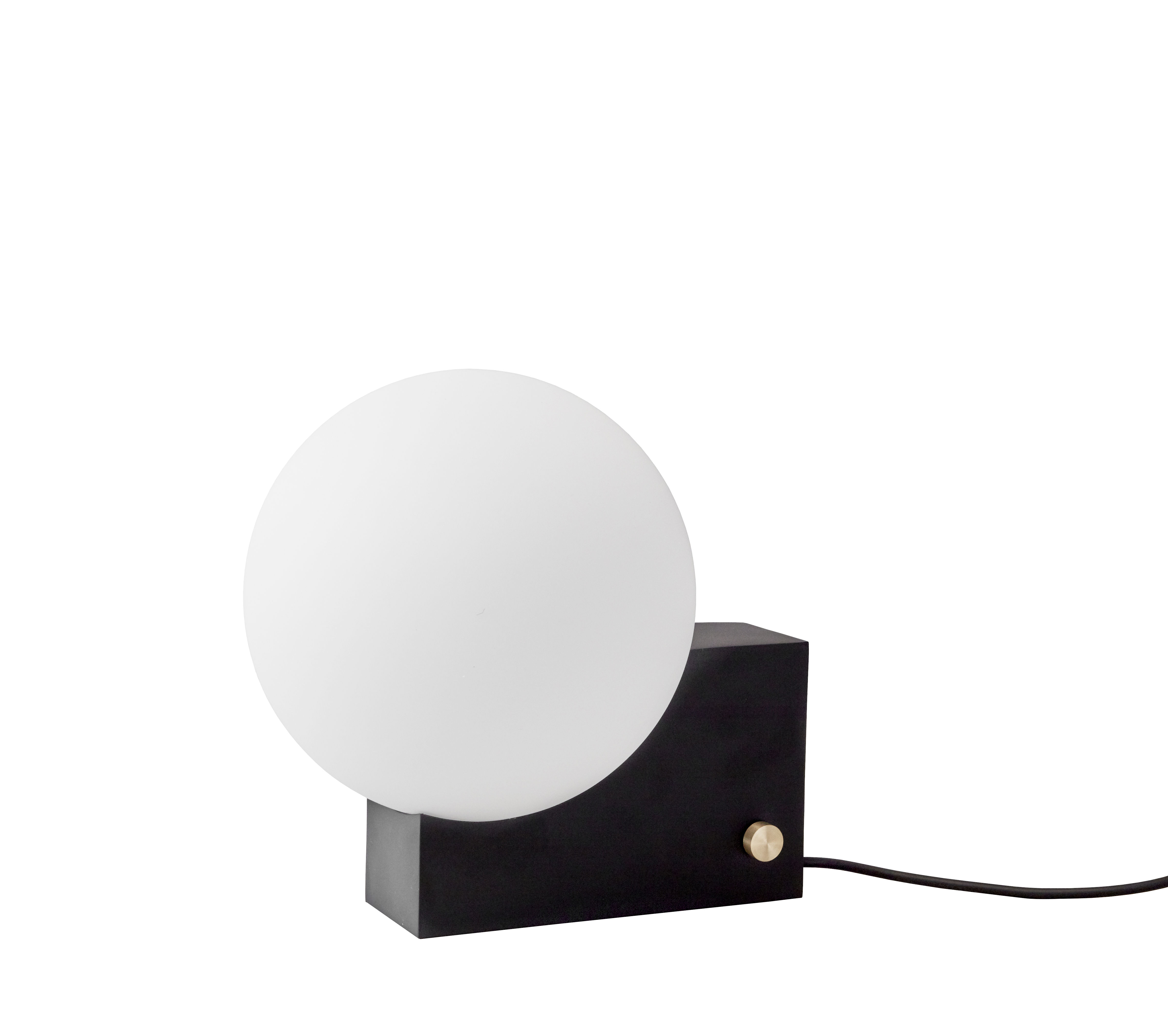 Lighting - Table Lamps - Journey SHY1 Table lamp - / Wall light - H 24 cm by &tradition - Black - Brass, Steel, Verre opalin soufflé bouche