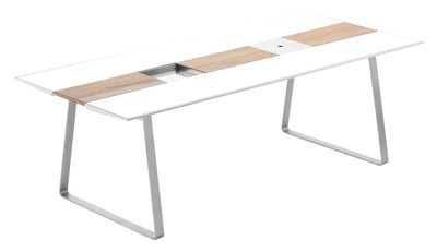 Table rectangulaire Extrados / Corian - L 242 cm - EGO Paris blanc,teck en métal