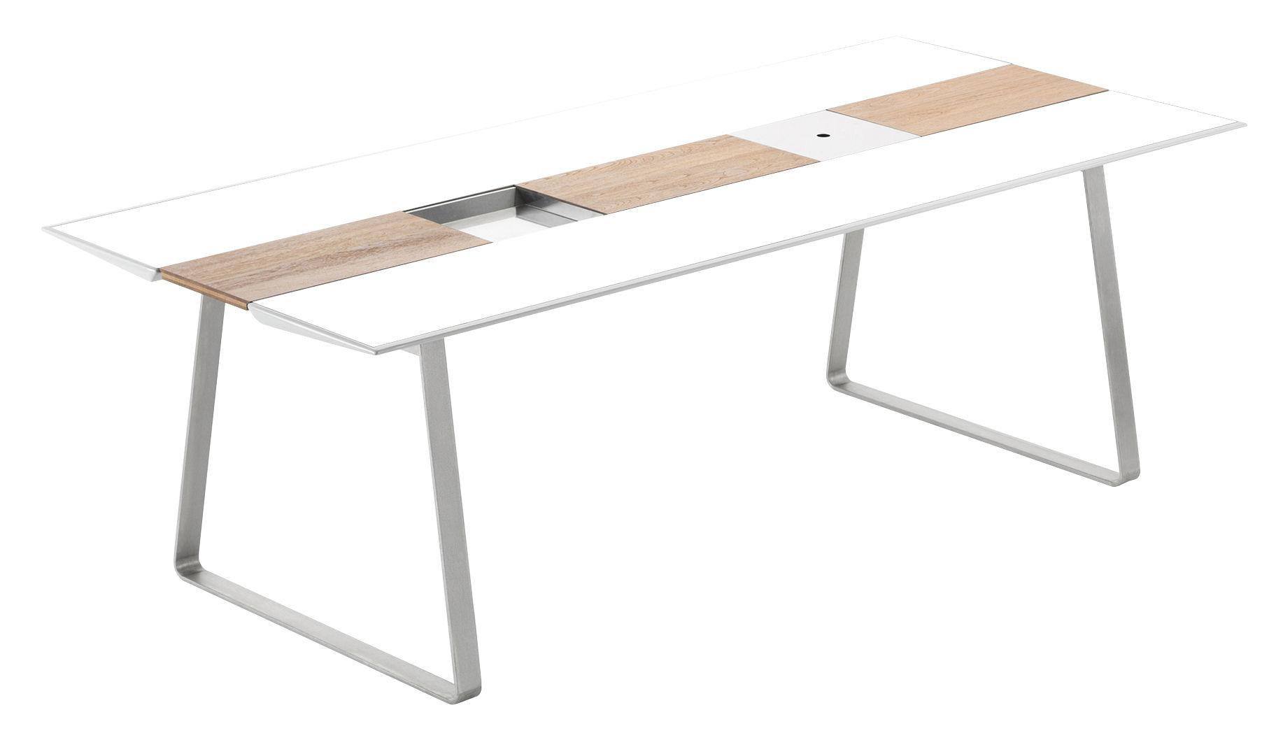 Outdoor - Tables de jardin - Table rectangulaire Extrados / Corian - L 242 cm - EGO Paris - Plateau blanc / Chemin de table teck & blanc - Corian, Inox brossé, Teck