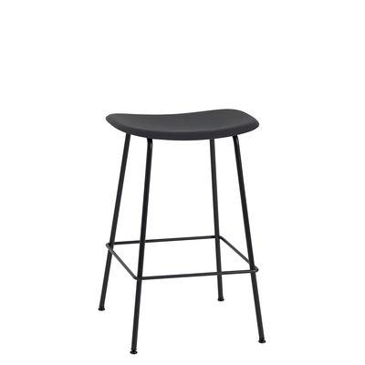 Mobilier - Tabourets de bar - Tabouret haut Fiber Bar / H 65 cm - Pieds métal - Muuto - Noir - Acier peint, Matériau composite recyclé