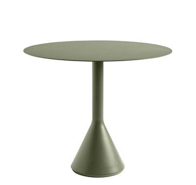 Outdoor - Tavoli  - Tavolo rotondo Palissade Cone - / Ø 90 cm - Acciaio di Hay - Verde oliva - Acciaio laccato epossidico, Calcestruzzo tinto