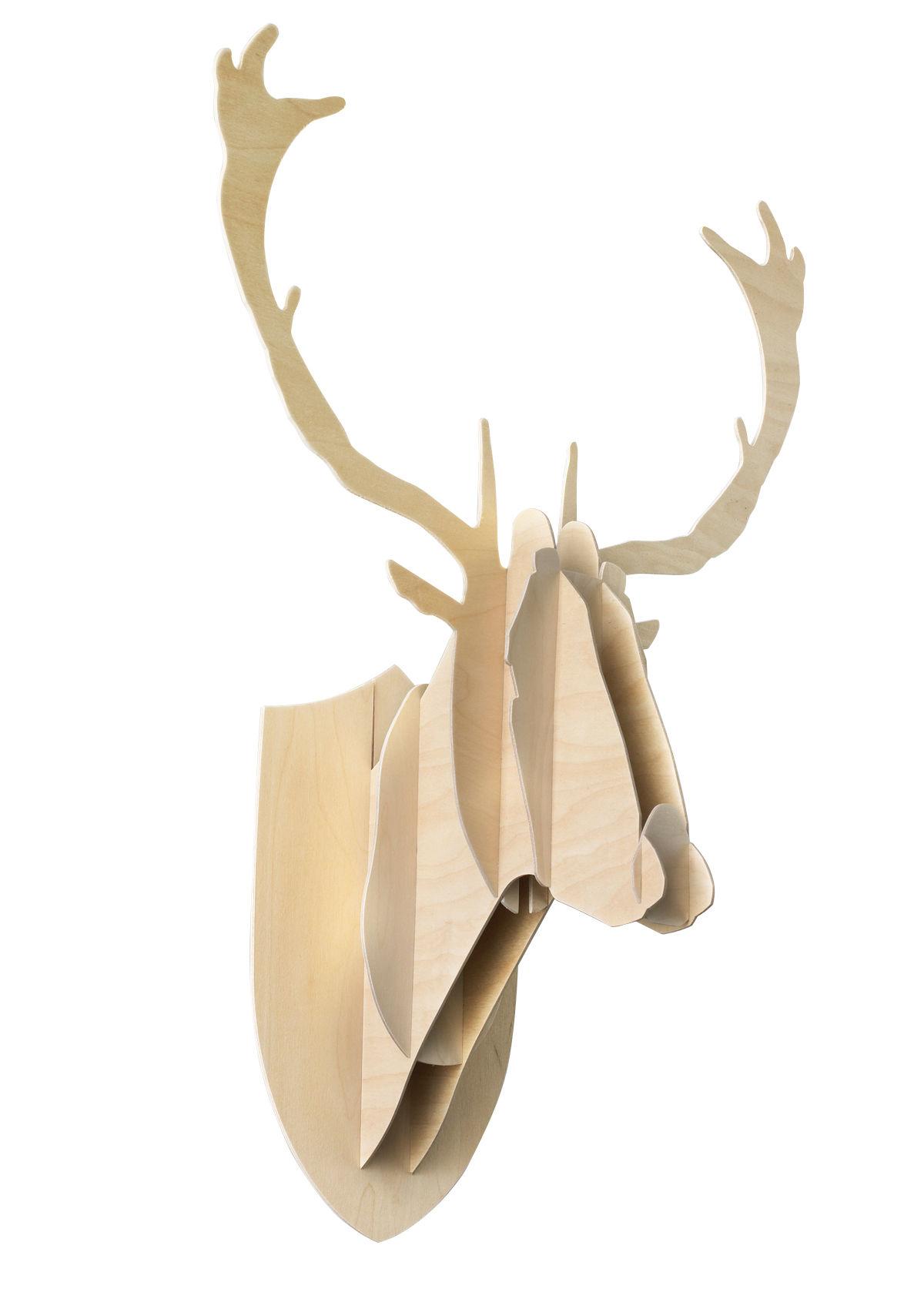 Déco - Tendance humour & décalage - Trophée Cerf - H 70 cm - Moustache - H 70 cm - Bois naturel - Contreplaqué de bouleau