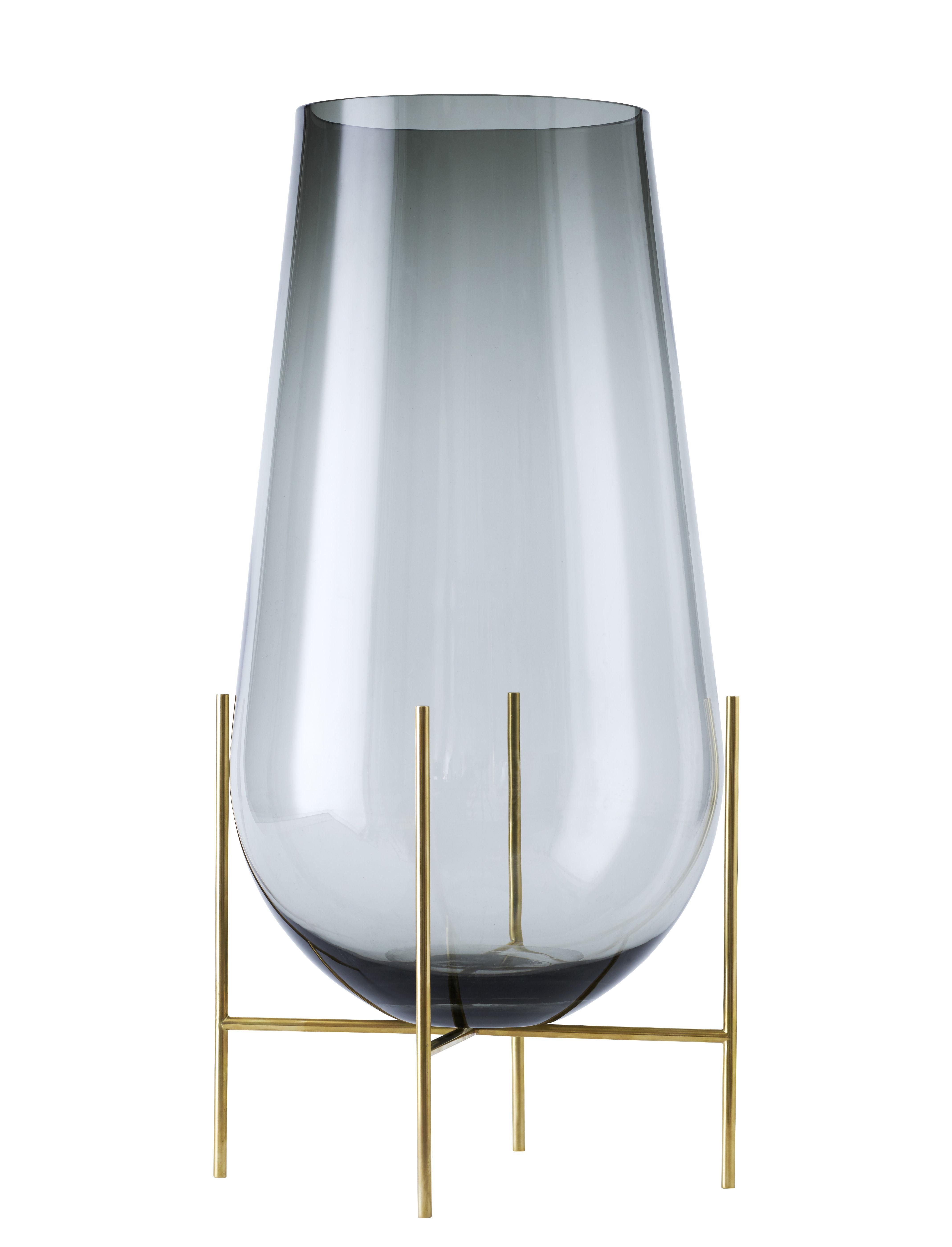 Decoration - Vases - Echasse Large Vase - H 60 cm / Glass & brass by Menu - Smoke / Brass - Glass, Solid brass