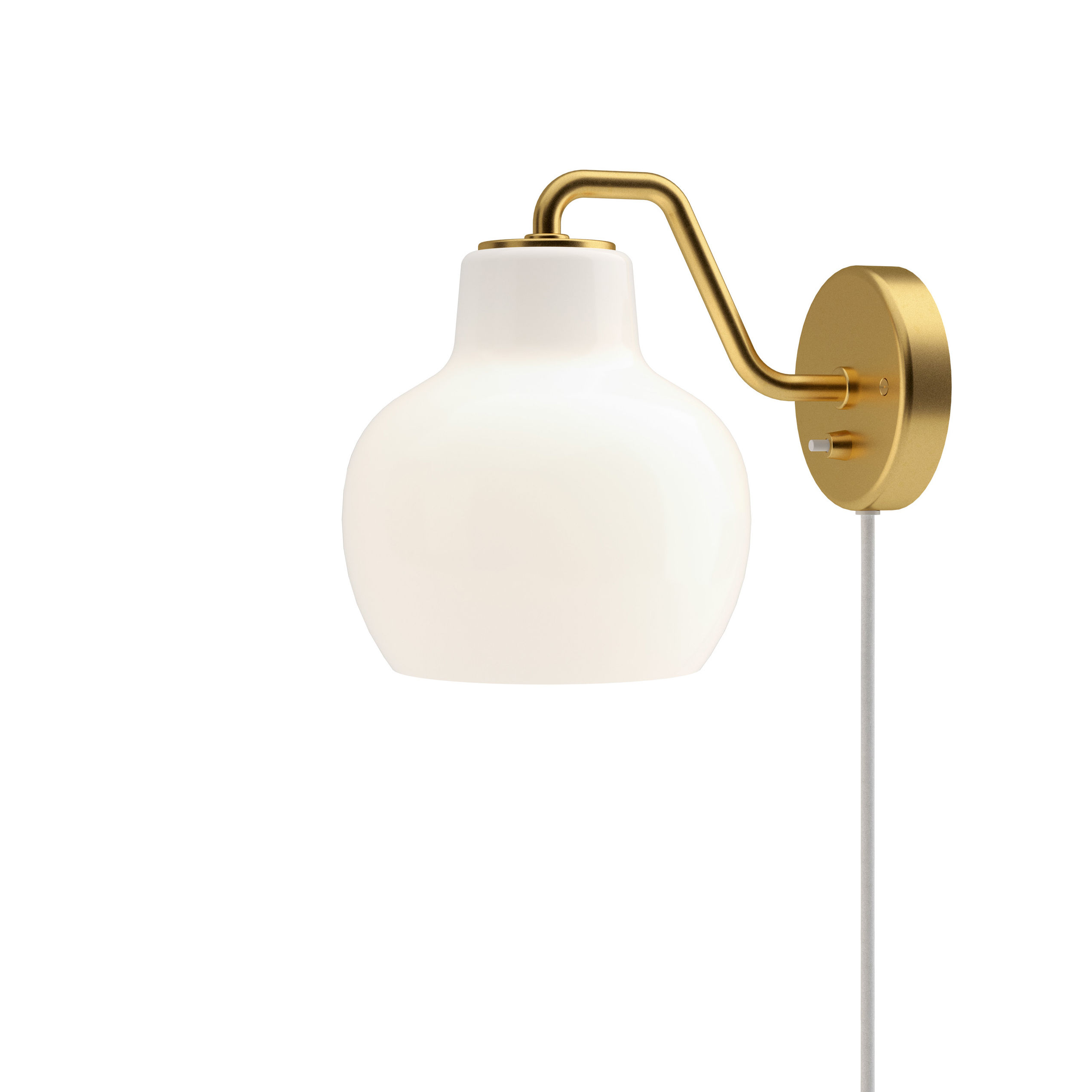 Lighting - Wall Lights - VL Ring Crown Wall light with plug - / 1940 reissue by Louis Poulsen - White / Brass - Brass, Mouth blown glass