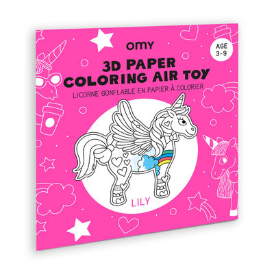 Decoration - Children's Home Accessories - Lily 3D colouring to inflate - / Paper unicorn by OMY Design & Play - Lily - Nylon, Paper