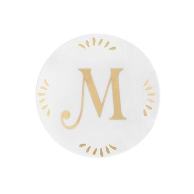 Arts de la table - Assiettes - Assiette à mignardises Lettering / Ø 12 cm - Lettre M - Bitossi Home - Lettre M / Or - Porcelaine