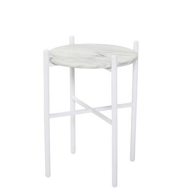 Beistelltisch / Ø 39 x H 50 cm - Marmor - Bloomingville - Weiß