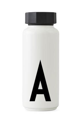 Arts de la table - Carafes et décanteurs - Bouteille isotherme A-Z / 500 ml - Lettre A - Design Letters - Blanc / Lettre A - Acier inoxydable, Polypropylène