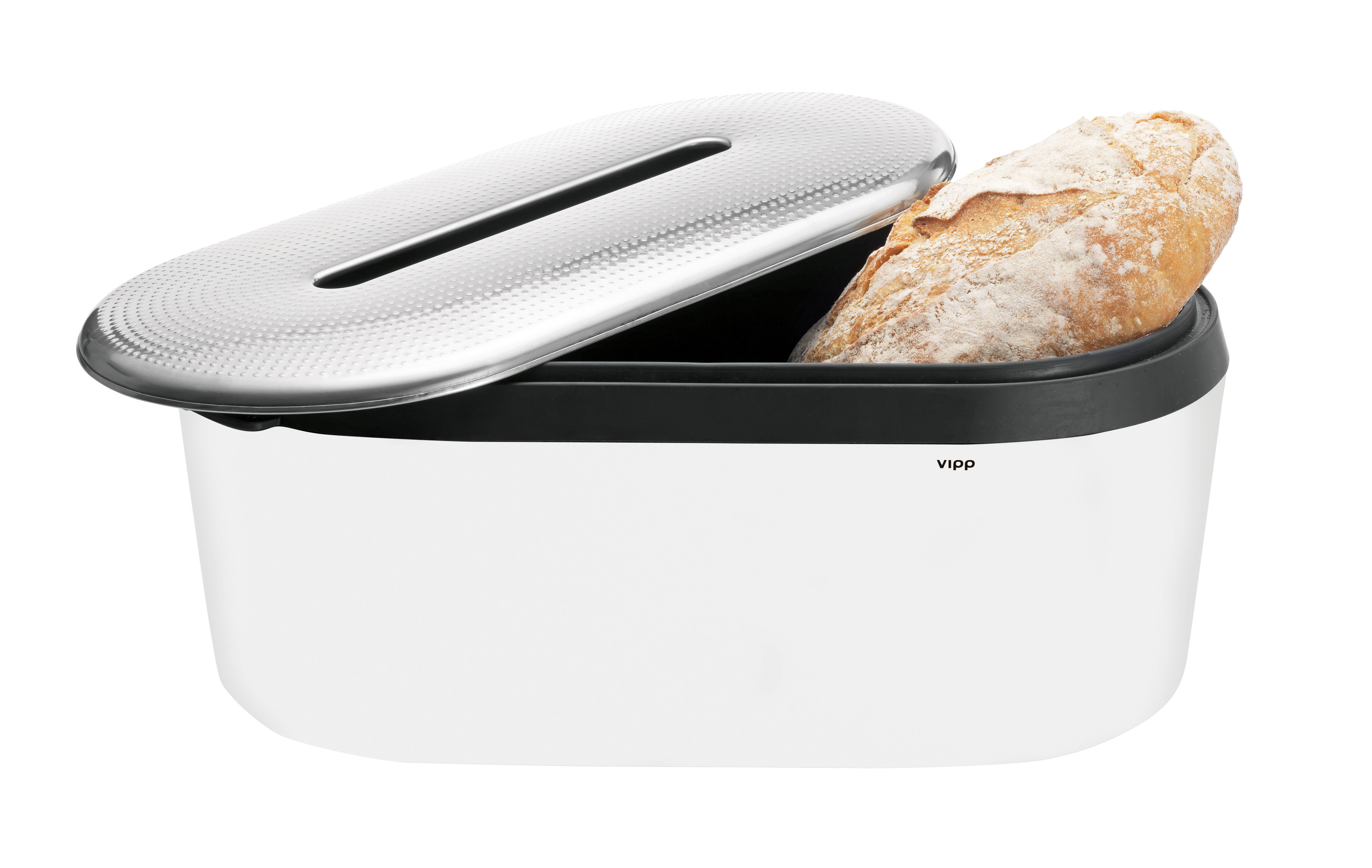 Tableware - Fruit Bowls & Centrepieces - Vipp 270 Bread box - Breadbox by Vipp - White - Cotton, Rubber, Stainless steel