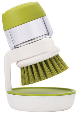 Cuisine - Vaisselle et nettoyage - Brosse à vaisselle Palm Scrub / Avec réservoir intégré + support - Joseph Joseph - Brosse réservoir & support / Vert & Blanc - Nylon, Polypropylène