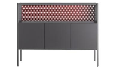 Arredamento - Contenitori, Credenze... - Credenza Heron / Alta - L 151 x H 116 cm - MDF Italia - Grigio & fondo rosso / Lati grigio - Compensato laccato, metallo laccato